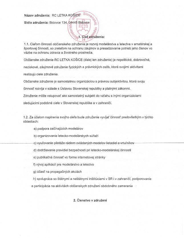 Stanovy RC Letka Košice. Kliknutím otvoríte v novom okne v pdf formáte.