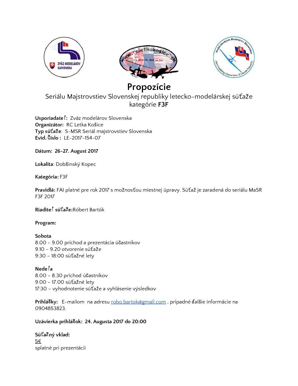 RC Letka Košice S-MSR F3F 2017 Dobšinský kopec